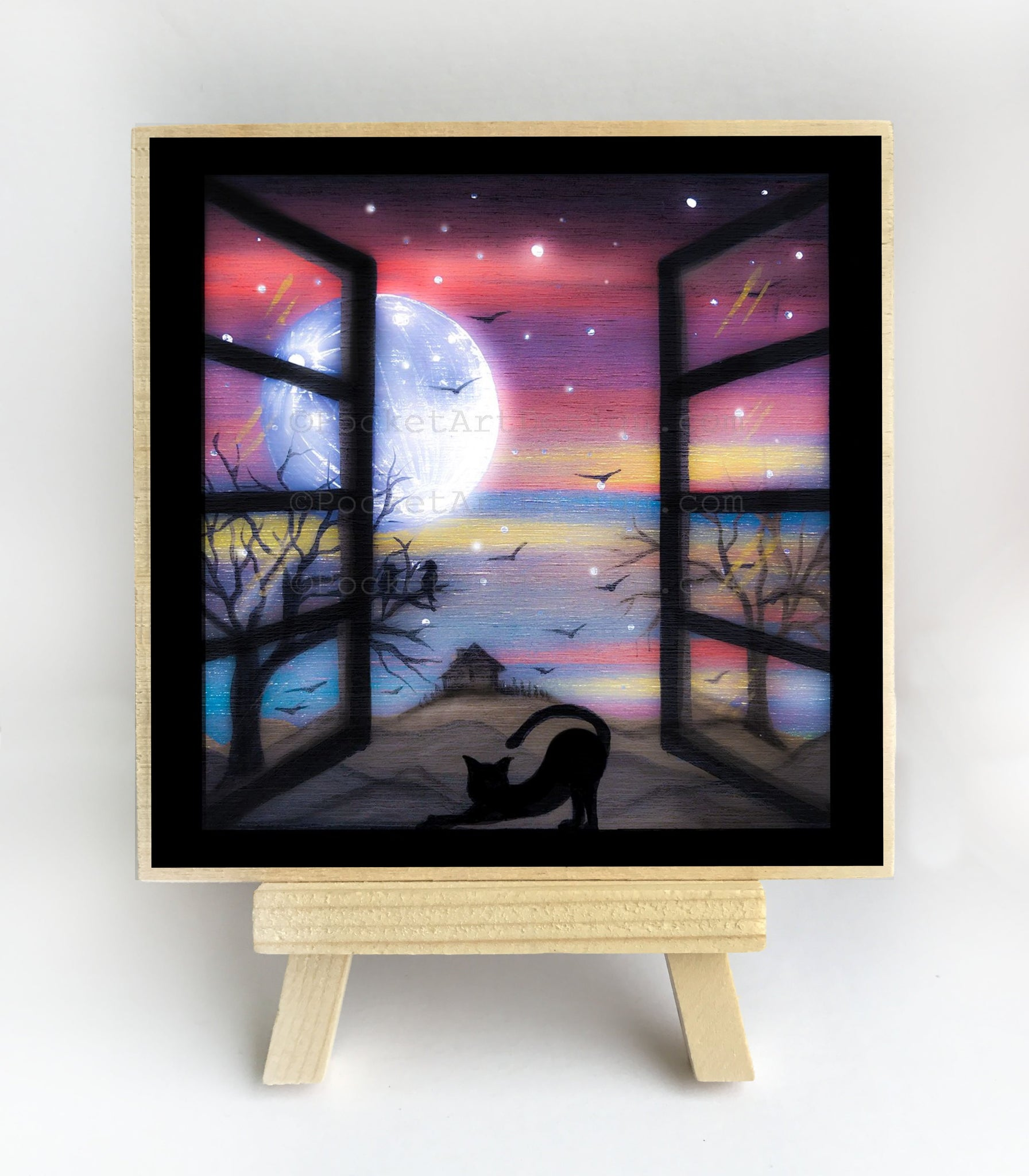 Cat on a window - full moon - silhouette - original miniature art print on 4 x 4 wood-Print-Easel Wood-PocketArtDesigns-Original Art-wall rt