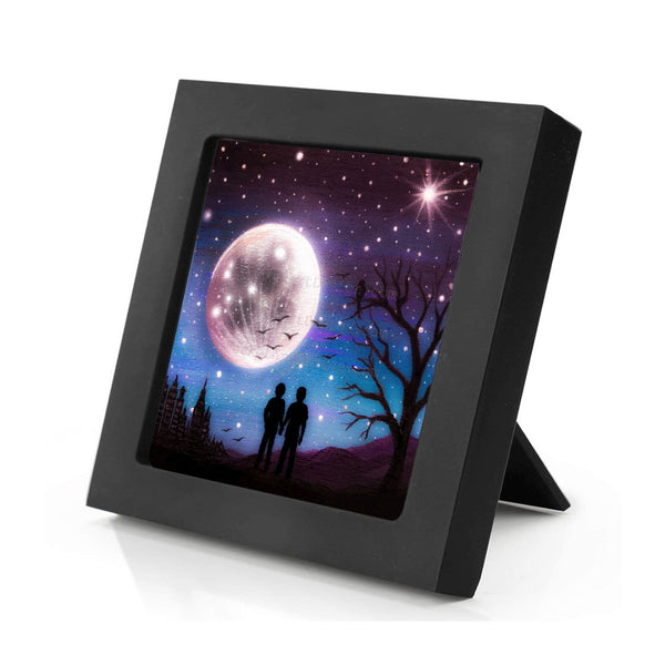 Romantic night - full moon - silhouette - original miniature art print on 4 x 4 wood-Print-Mini Frame (+$5.00)-PocketArtDesigns-Original Art-wall rt