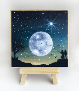 Couple watching a full moon - silhouette - original miniature art print on 4 x 4 wood-Print-Easel Wood-PocketArtDesigns-Original Art-wall rt