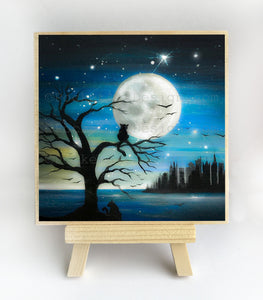 Cat on a tree - full moon - silhouette - original miniature art print on 4 x 4 wood-Print-Easel Wood-PocketArtDesigns-Original Art-wall rt