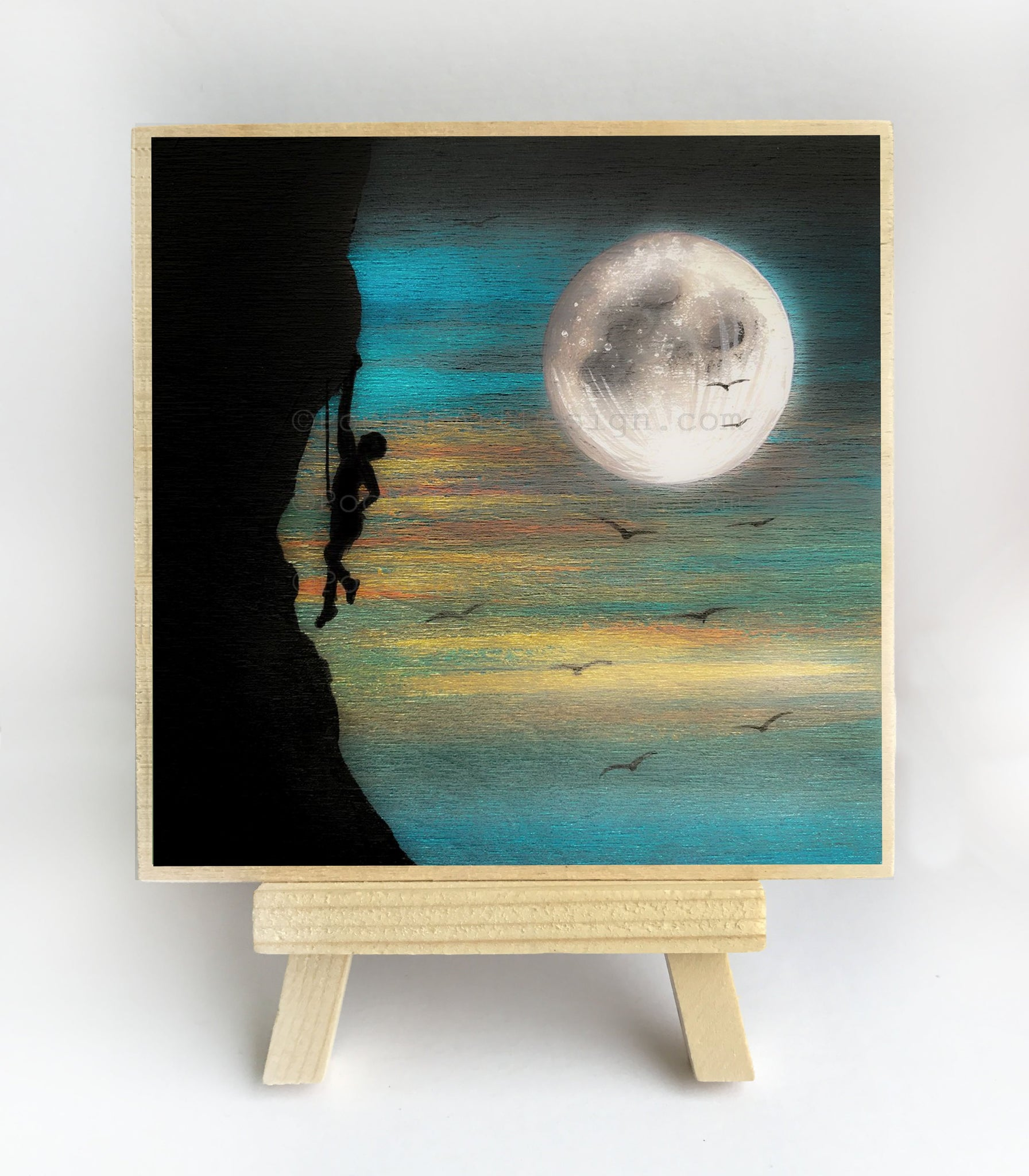Rock climbing - full moon - silhouette - original miniature art print on 4 x 4 wood-Print-Easel Wood-PocketArtDesigns-Original Art-wall rt