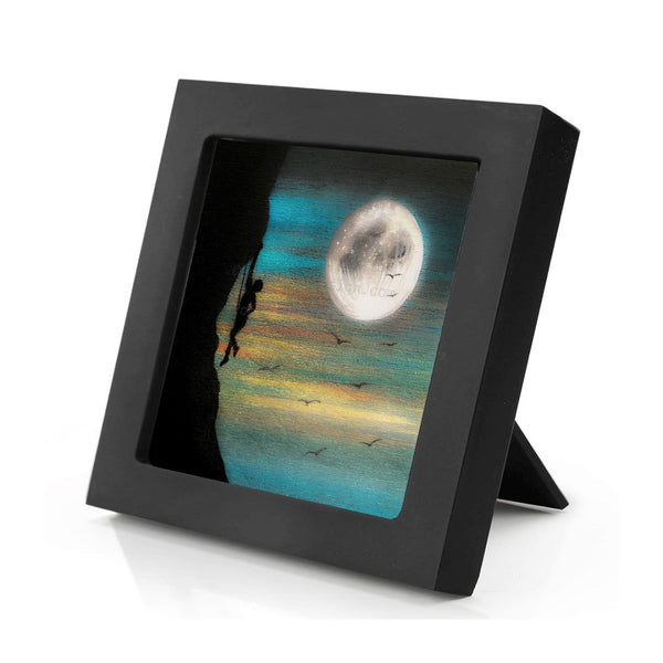 Rock climbing - full moon - silhouette - original miniature art print on 4 x 4 wood-Print-Mini Frame (+$5.00)-PocketArtDesigns-Original Art-wall rt