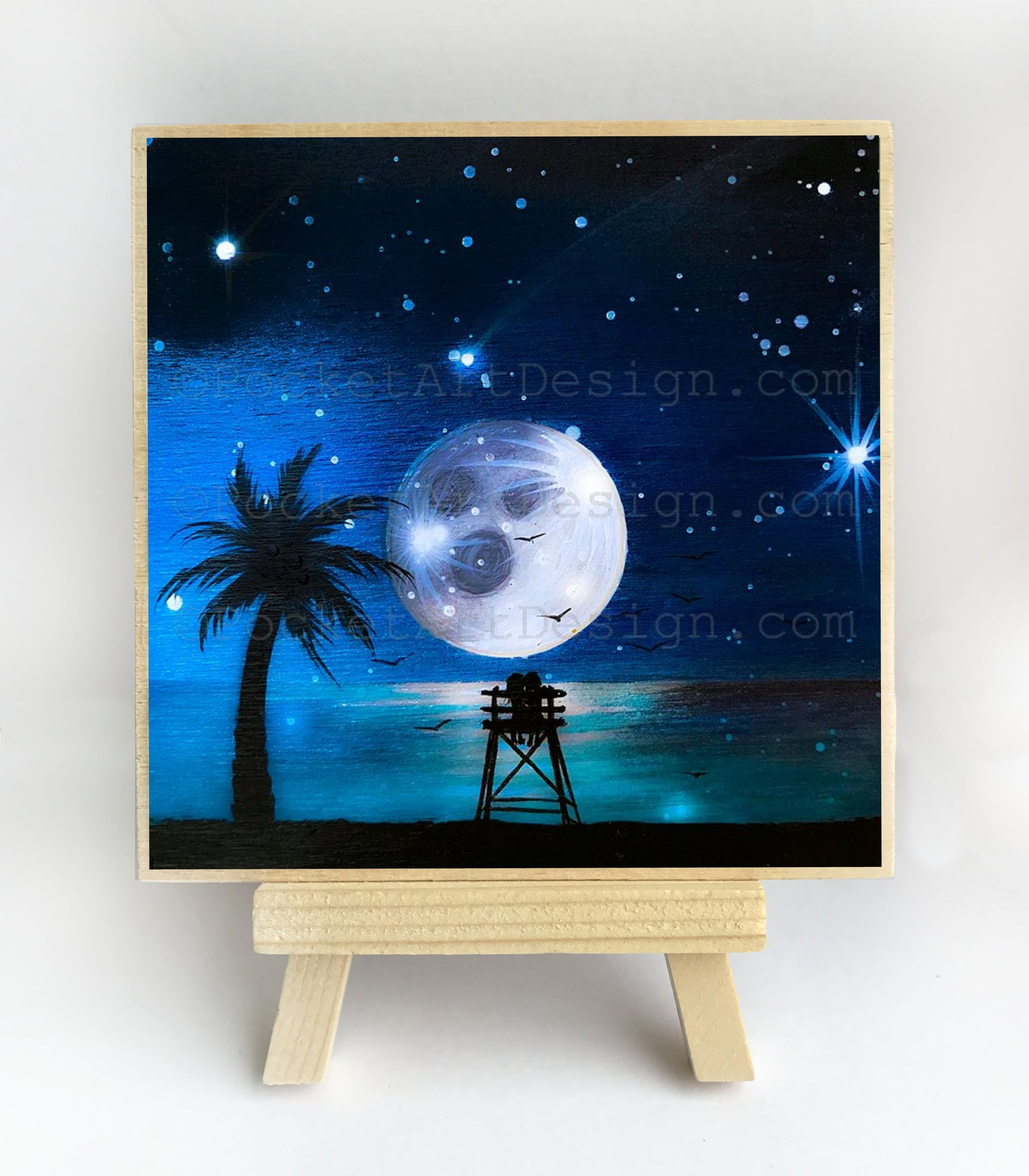 Watching the full moon - silhouette - original miniature art print on 4 x 4 wood-Print-Easel Wood-PocketArtDesigns-Original Art-wall rt
