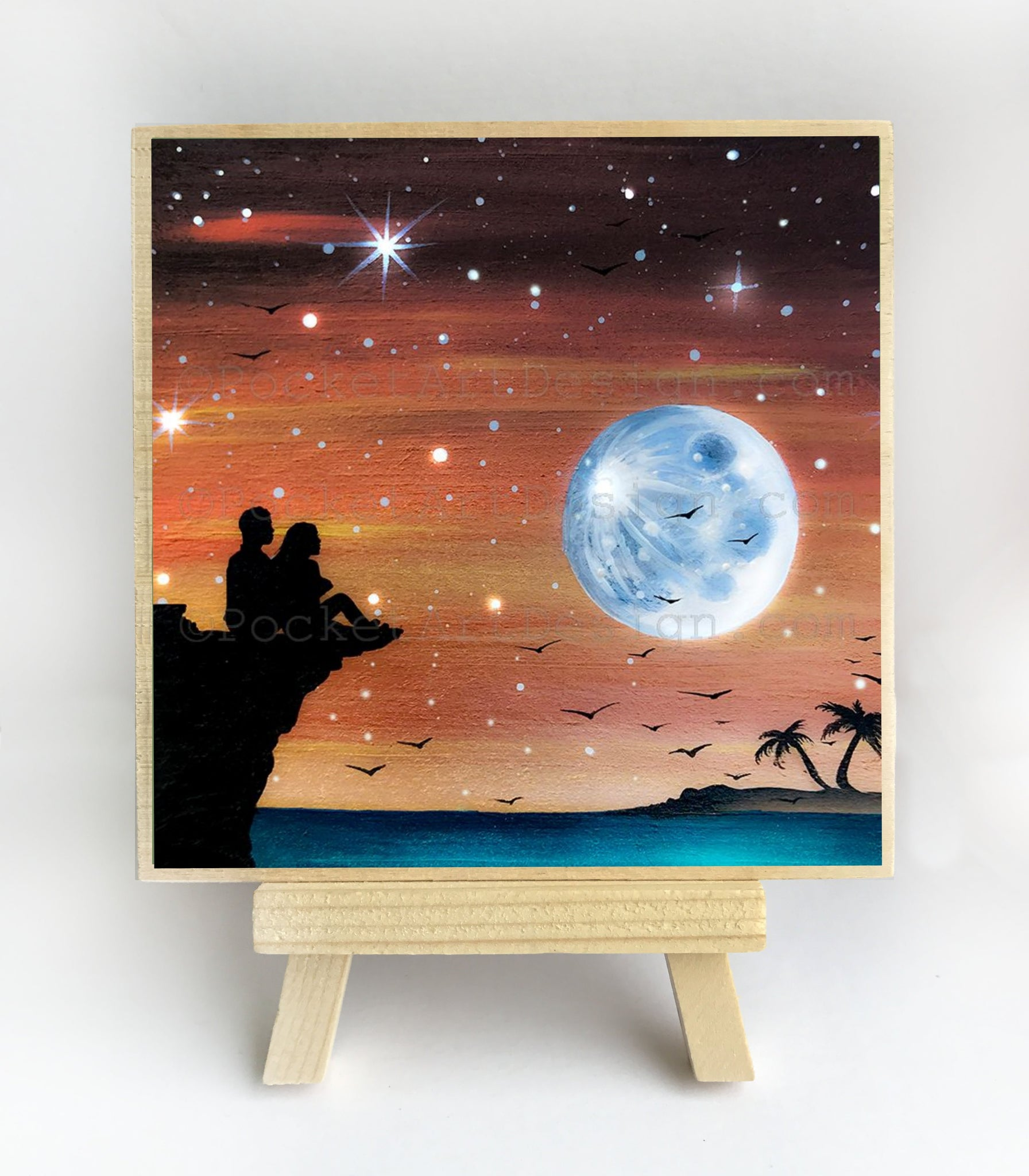 Romantic night - watching a full moon from a cliff - silhouette - original miniature art print on 4 x 4 wood-Print-Easel Wood-PocketArtDesigns-Original Art-wall rt