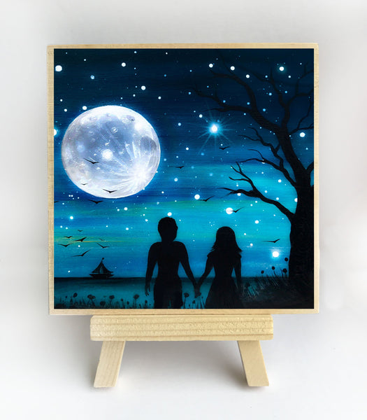 Romantic night - watching the full moon over the ocean - silhouette - original miniature art print on 4 x 4 wood-Print-Easel Wood-PocketArtDesigns-Original Art-wall rt