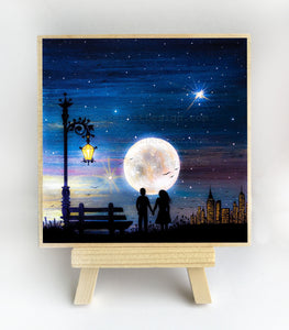 Romantic night - watching a full moon - silhouette - original miniature art print on 4 x 4 wood-Print-Easel Wood-PocketArtDesigns-Original Art-wall rt