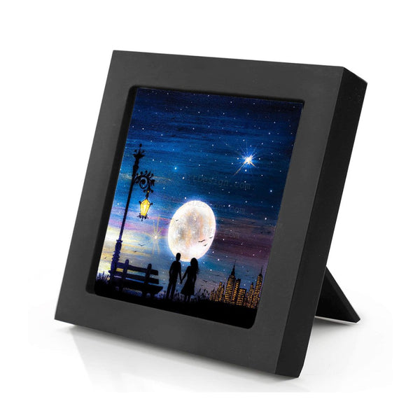 Romantic night - watching a full moon - silhouette - original miniature art print on 4 x 4 wood-Print-Mini Frame (+$5.00)-PocketArtDesigns-Original Art-wall rt