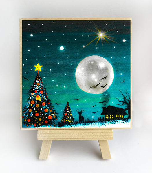 Christmas trees lights at night - silhouette - original miniature art print on 4 x 4 wood-Print-Easel Wood-PocketArtDesigns-Original Art-wall rt
