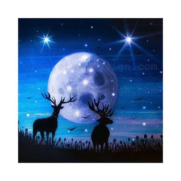 Deer at night - full moon - silhouette - original miniature art print on 4 x 4 wood-Print-Easel Wood-PocketArtDesigns-Original Art-wall rt