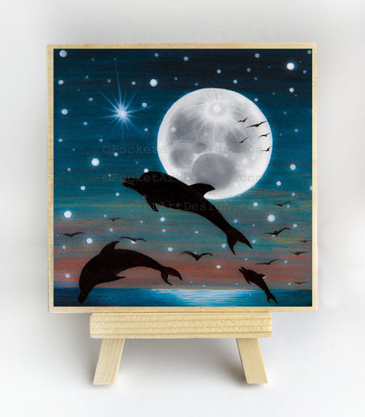 Dolphin at night - full moon - silhouette - original miniature art print on 4 x 4 wood-Print-Easel Wood-PocketArtDesigns-Original Art-wall rt