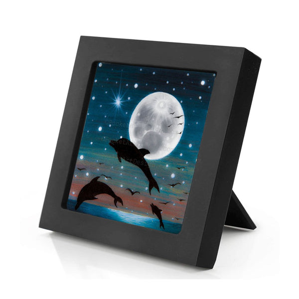 Dolphin at night - full moon - silhouette - original miniature art print on 4 x 4 wood-Print-Mini Frame (+$5.00)-PocketArtDesigns-Original Art-wall rt