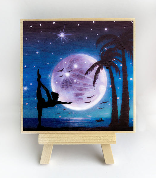 Yoga at the beach - night - silhouette - original miniature art print on 4 x 4 wood-Print-Easel Wood-PocketArtDesigns-Original Art-wall rt