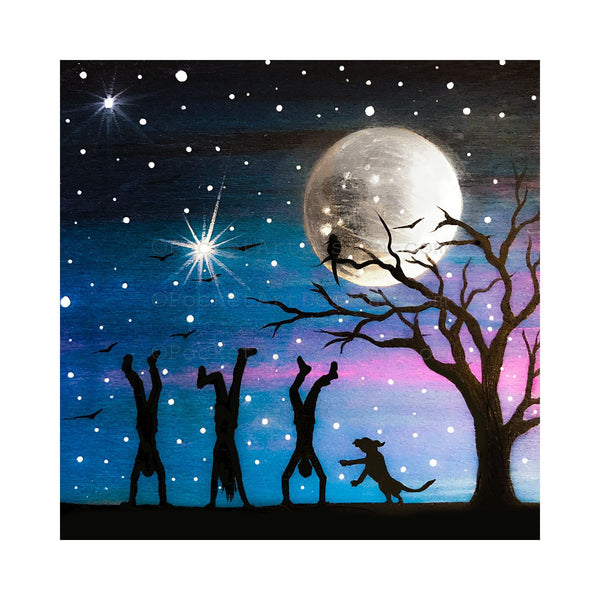 Handstands at night - night - silhouette - original miniature art print on 4 x 4 wood-Print-Easel Wood-PocketArtDesigns-Original Art-wall rt