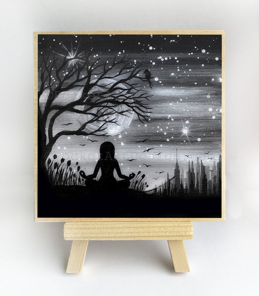 mediation under a tree - night - silhouette - original miniature art print on 4 x 4 wood-Print-Easel Wood-PocketArtDesigns-Original Art-wall rt