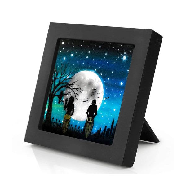 music under the moon - night - silhouette - original miniature art print on 4 x 4 wood-Print-Mini Frame (+$5.00)-PocketArtDesigns-Original Art-wall rt