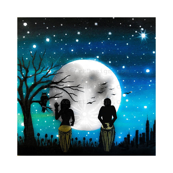 music under the moon - night - silhouette - original miniature art print on 4 x 4 wood-Print-Easel Wood-PocketArtDesigns-Original Art-wall rt