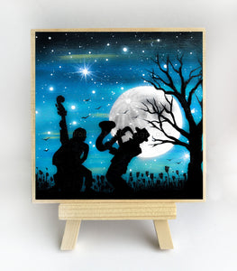 Music at night - silhouette - original miniature art print on 4 x 4 wood-Print-Easel Wood-PocketArtDesigns-Original Art-wall rt