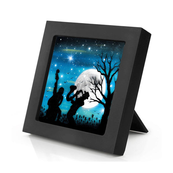 Music at night - silhouette - original miniature art print on 4 x 4 wood-Print-Mini Frame (+$5.00)-PocketArtDesigns-Original Art-wall rt