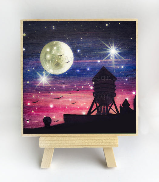 Water tower - full moon - silhouette - original miniature art print on 4 x 4 wood-Print-Easel Wood-PocketArtDesigns-Original Art-wall rt