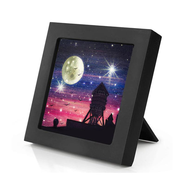 Water tower - full moon - silhouette - original miniature art print on 4 x 4 wood-Print-Mini Frame (+$5.00)-PocketArtDesigns-Original Art-wall rt