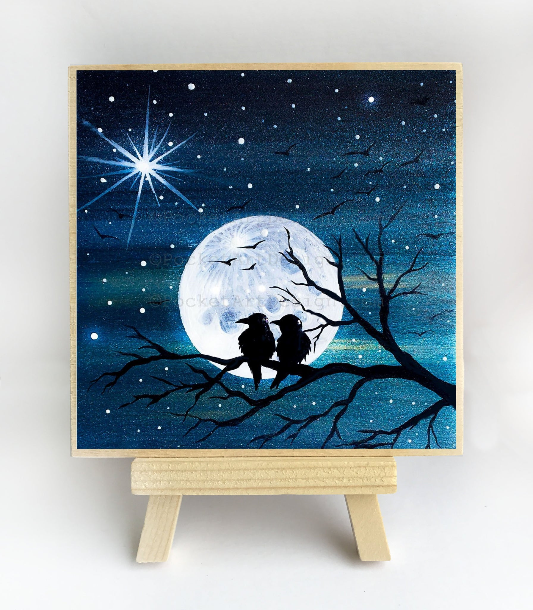 Two birds on a tree - full moon - silhouette - original miniature art print on 4 x 4 wood-Print-Easel Wood-PocketArtDesigns-Original Art-wall rt