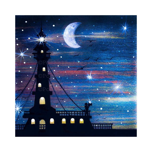 Light house - moon - silhouette - original miniature art print on 4 x 4 wood-Print-Easel Wood-PocketArtDesigns-Original Art-wall rt