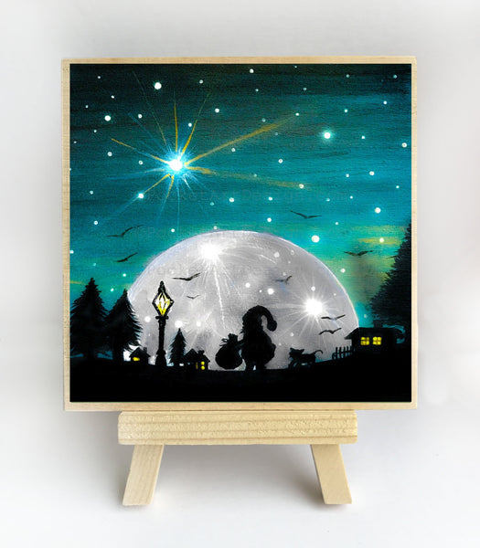 Santa - full moon - silhouette - original miniature art print on 4 x 4 wood-Print-Easel Wood-PocketArtDesigns-Original Art-wall rt