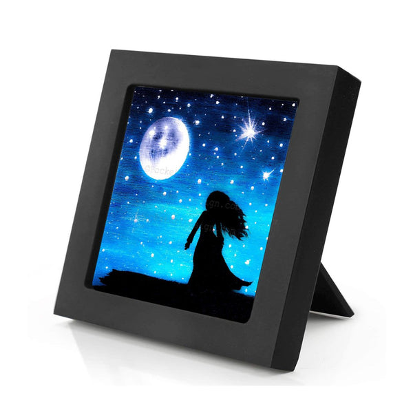 Girl at night - full moon - silhouette - original miniature art print on 4 x 4 wood-Print-Mini Frame (+$5.00)-PocketArtDesigns-Original Art-wall rt