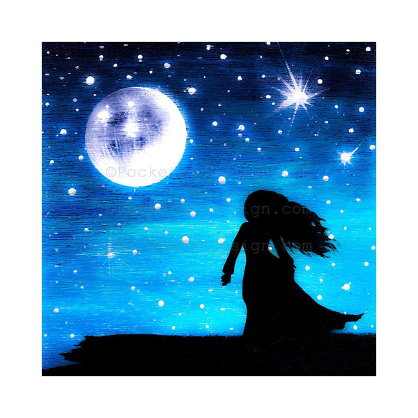 Girl at night - full moon - silhouette - original miniature art print on 4 x 4 wood-Print-Easel Wood-PocketArtDesigns-Original Art-wall rt