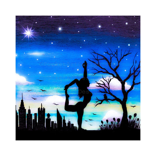 Yoga - silhouette - original miniature art print on 4 x 4 wood-Print-Easel Wood-PocketArtDesigns-Original Art-wall rt