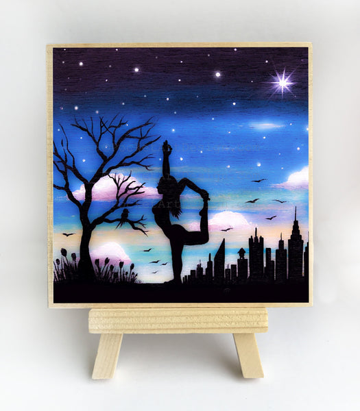 Dancer pose - Yoga - night - silhouette - original miniature art print on 4 x 4 wood-Print-Easel Wood-PocketArtDesigns-Original Art-wall rt