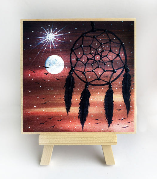 Dream catcher - full moon - silhouette - original miniature art print on 4 x 4 wood-Print-Easel Wood-PocketArtDesigns-Original Art-wall rt