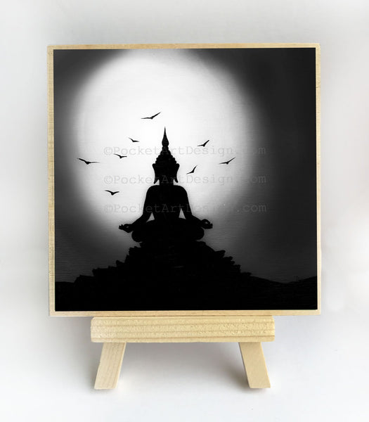 Night meditation - black and white - silhouette - original miniature art print on 4 x 4 wood-Print-Easel Wood-PocketArtDesigns-Original Art-wall rt