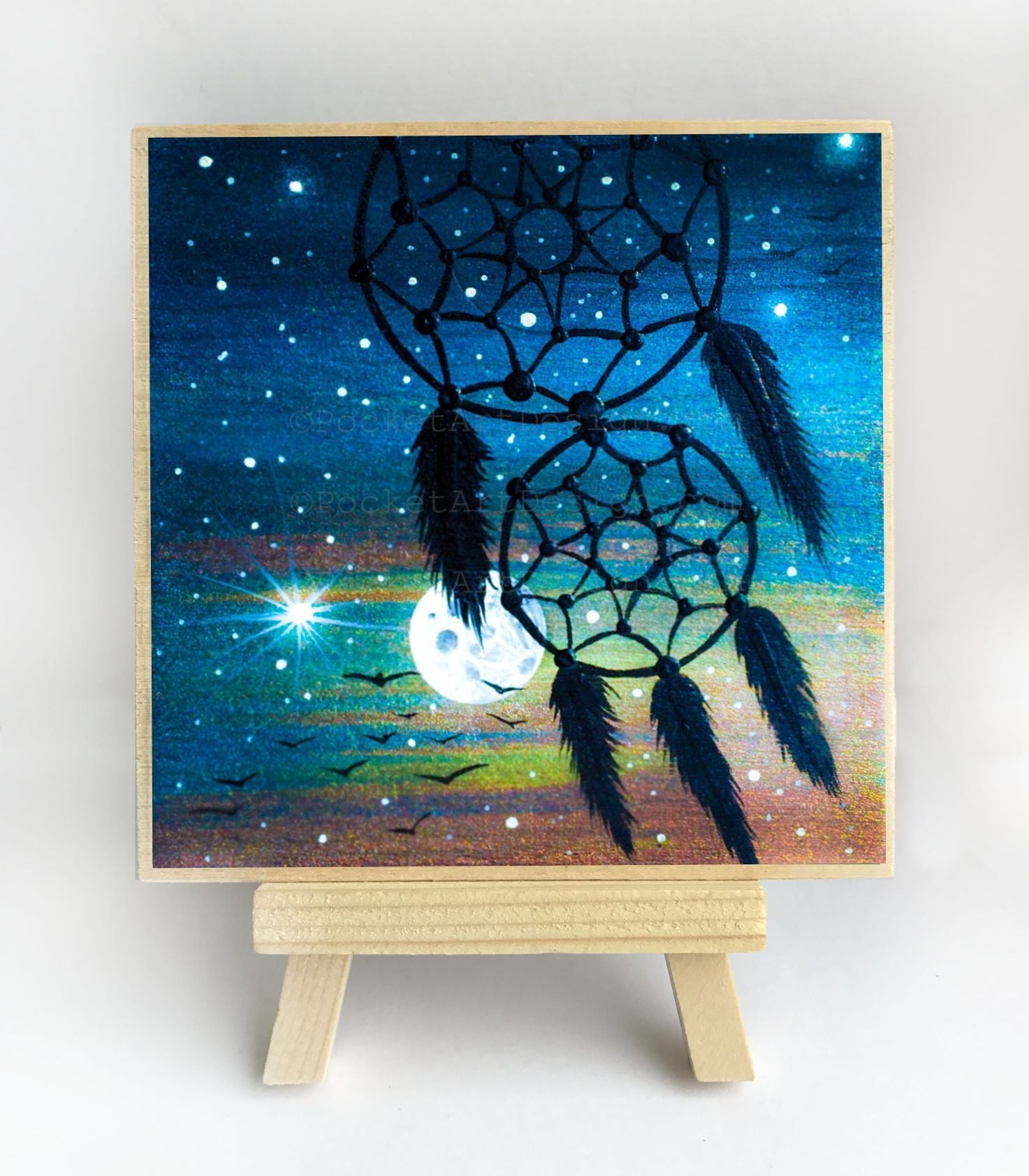 Dream catcher - night - silhouette - original miniature art print on 4 x 4 wood-Print-Easel Wood-PocketArtDesigns-Original Art-wall rt