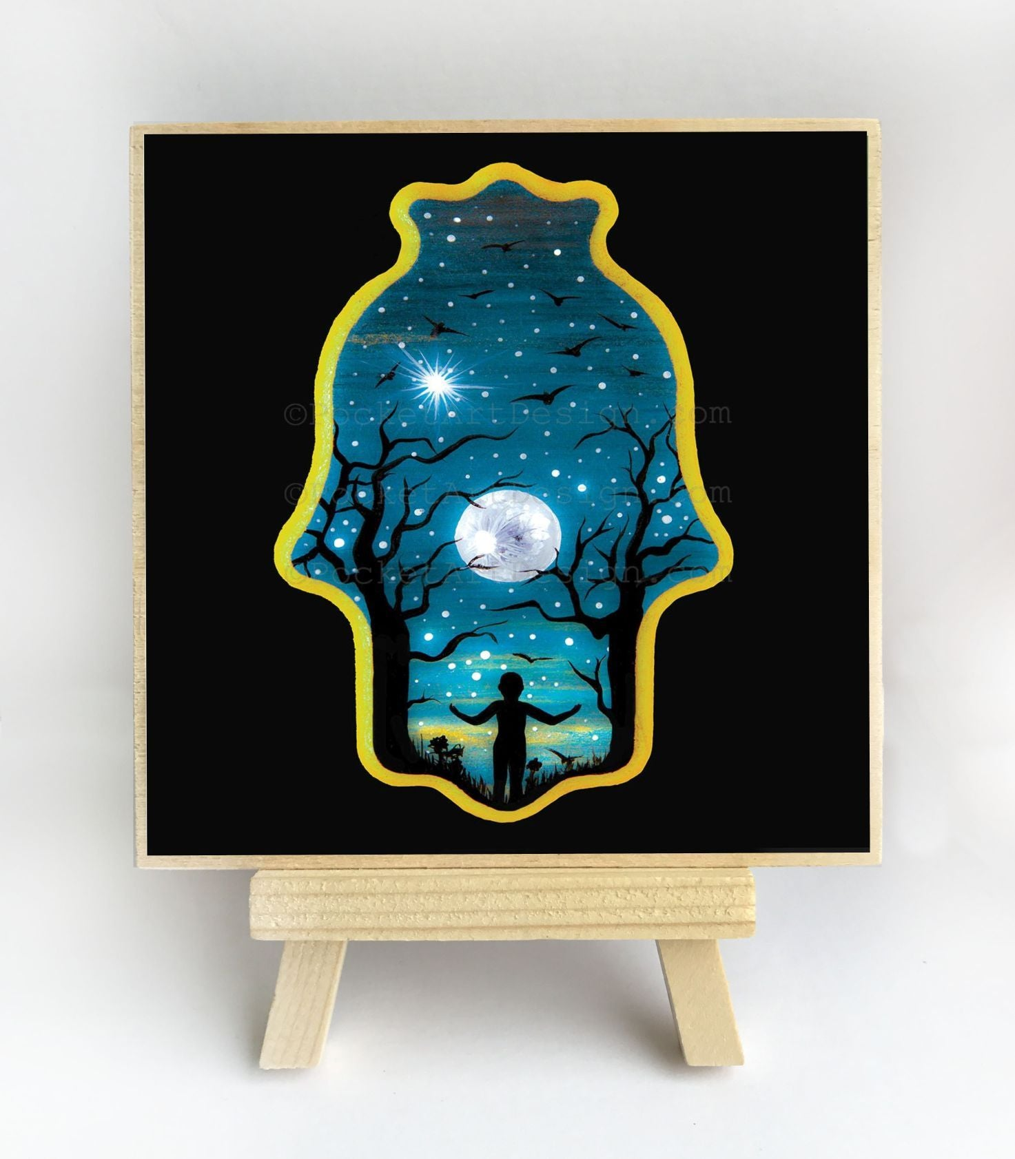 Night through Hamsa hole - full moon - silhouette - original miniature art print on 4 x 4 wood-Print-Easel Wood-PocketArtDesigns-Original Art-wall rt