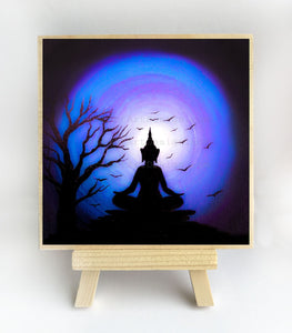 Meditation at night - silhouette - original miniature art print on 4 x 4 wood-Print-Easel Wood-PocketArtDesigns-Original Art-wall rt