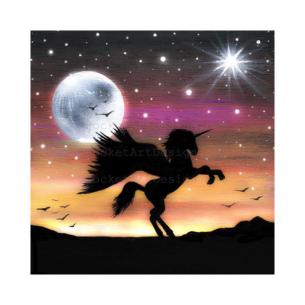 Unicorn - full moon - silhouette - original miniature art print on 4 x 4 wood-Print-Easel Wood-PocketArtDesigns-Original Art-wall rt