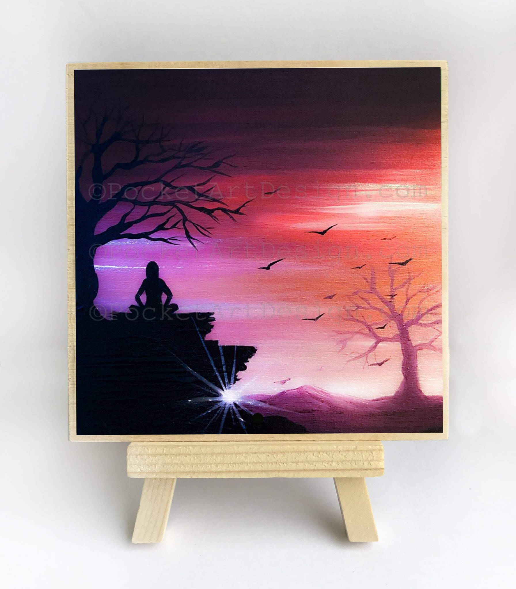 Meditation on a rock - sunset - silhouette - original miniature art print on 4 x 4 wood-Print-Easel Wood-PocketArtDesigns-Original Art-wall rt