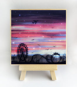 Fair ground - night - silhouette - original miniature art print on 4 x 4 wood-Print-Easel Wood-PocketArtDesigns-Original Art-wall rt