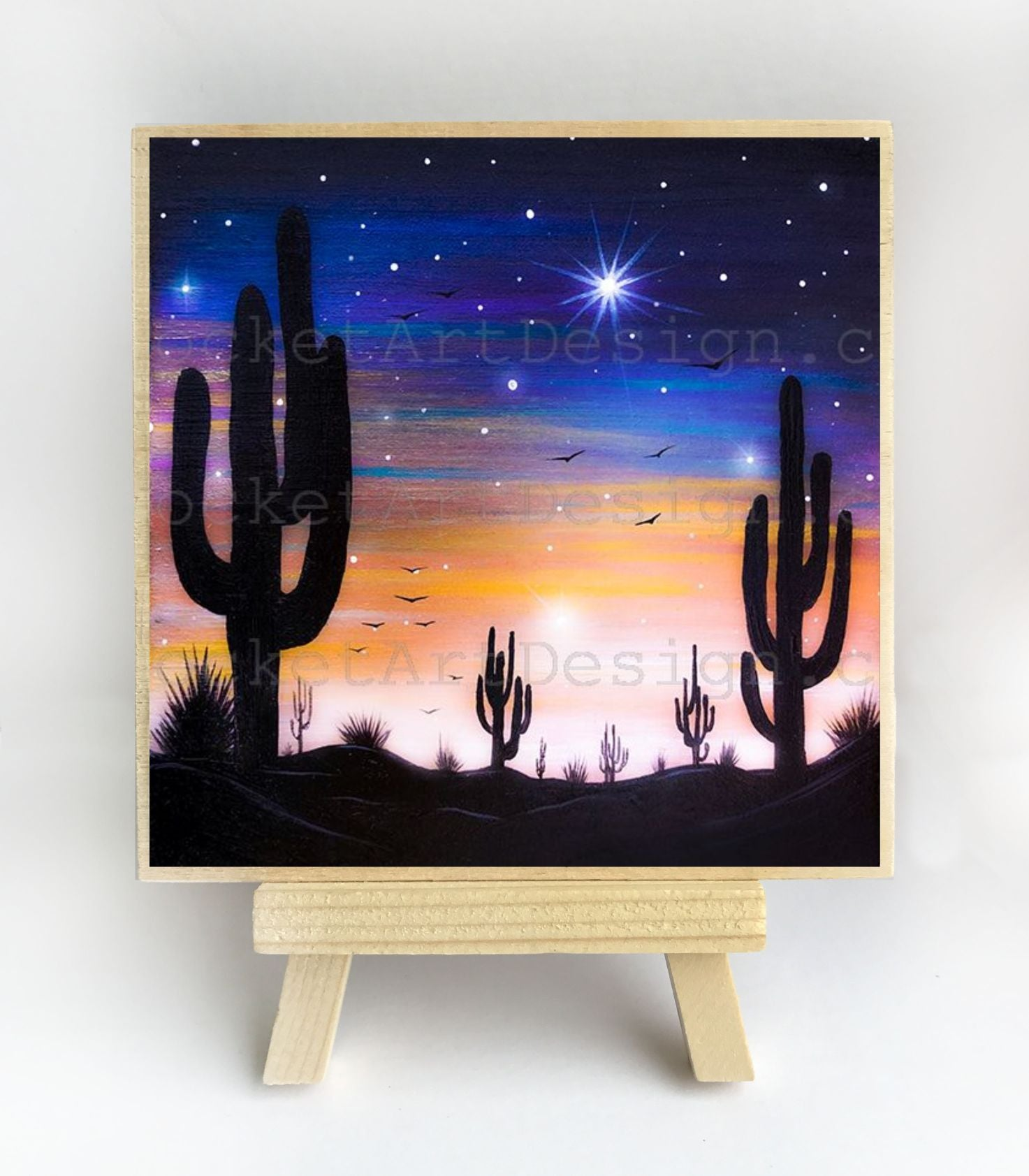 Cactus - night - silhouette - original miniature art print on 4 x 4 wood-Print-Easel Wood-PocketArtDesigns-Original Art-wall rt