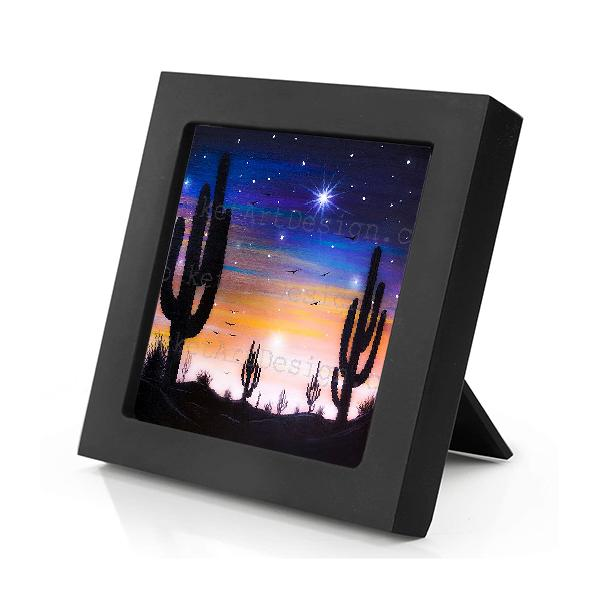 Cactus - night - silhouette - original miniature art print on 4 x 4 wood-Print-Mini Frame (+$5.00)-PocketArtDesigns-Original Art-wall rt