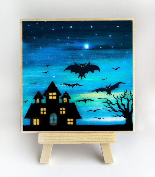 Bats at night - silhouette - original miniature art print on 4 x 4 wood-Print-Easel Wood-PocketArtDesigns-Original Art-wall rt