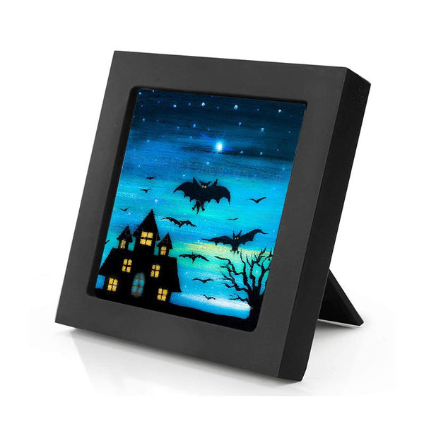 Bats at night - silhouette - original miniature art print on 4 x 4 wood-Print-Mini Frame (+$5.00)-PocketArtDesigns-Original Art-wall rt