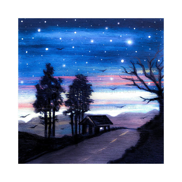 Road at night - silhouette - original miniature art print on 4 x 4 wood-Print-Easel Wood-PocketArtDesigns-Original Art-wall rt