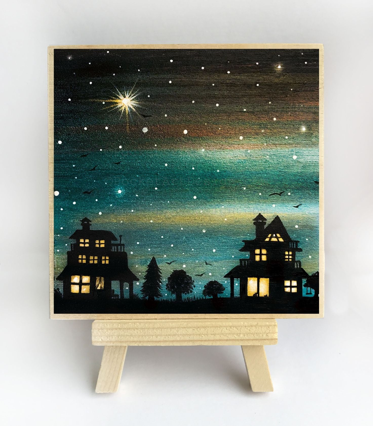 Houses at night - silhouette - original miniature art print on 4 x 4 wood-Print-Easel Wood-PocketArtDesigns-Original Art-wall rt