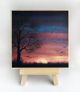 Tree - sunset - silhouette - original miniature art print on 4 x 4 wood-Print-Easel Wood-PocketArtDesigns-Original Art-wall rt