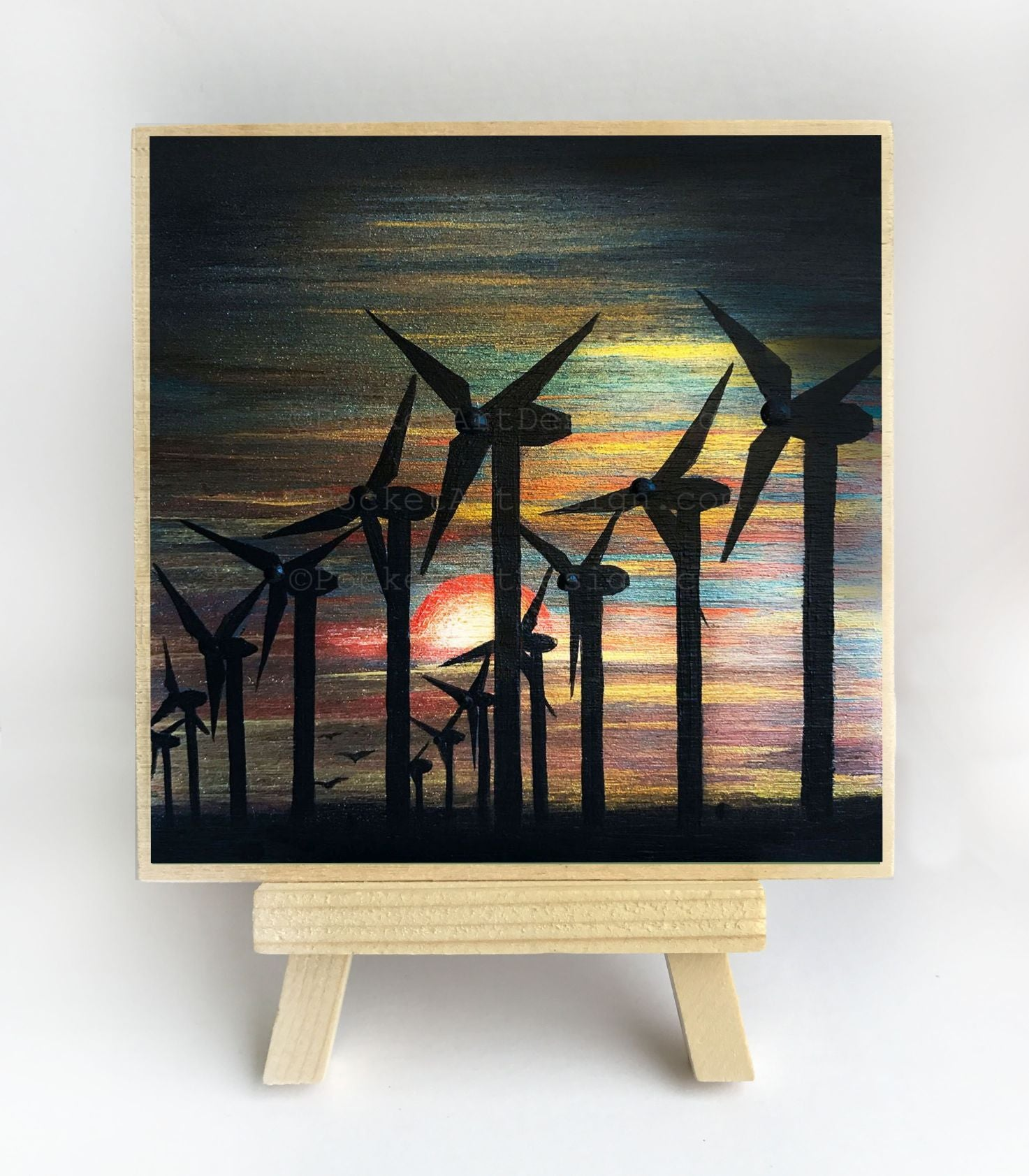 Windmills - night - silhouette - original miniature art print on 4 x 4 wood-Print-Easel Wood-PocketArtDesigns-Original Art-wall rt