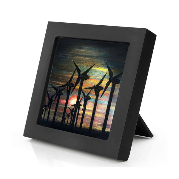 Windmills - night - silhouette - original miniature art print on 4 x 4 wood-Print-Mini Frame (+$5.00)-PocketArtDesigns-Original Art-wall rt