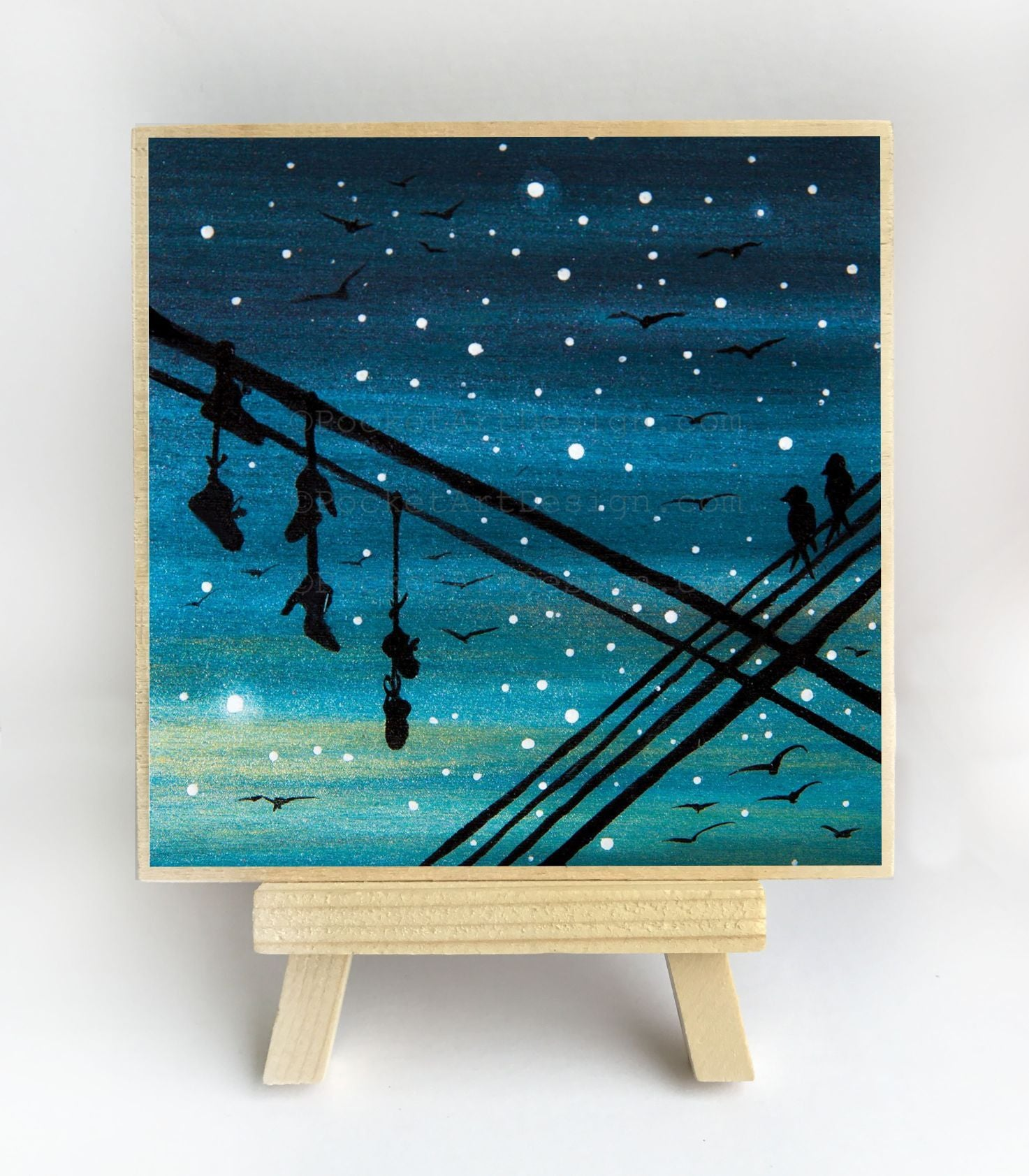 Hanged shoes - night - silhouette - original miniature art print on 4 x 4 wood-Print-Easel Wood-PocketArtDesigns-Original Art-wall rt