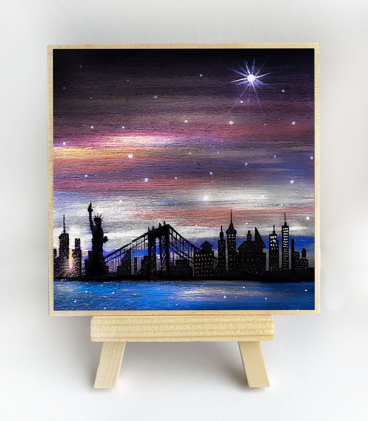 New York - night - silhouette - original miniature art print on 4 x 4 wood-Print-Easel Wood-PocketArtDesigns-Original Art-wall rt